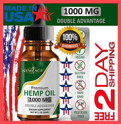1000mg Full Spectrum Hemp Oil Extract Drops Pain Relief Anti Anxiety FREE 2 DAY