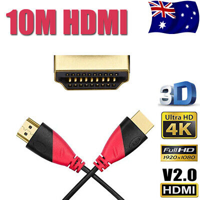 10m 3D HDMI Cable High Speed GOLD Full HD TV 1080P 4K Audio PC Ethernet ARC HEC