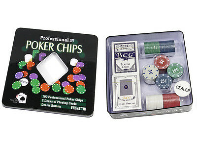 Set Da Poker 100 Fiches Scatola 2 Mazzi Di Carte Gioco Texas Hold'em Gettone dfh