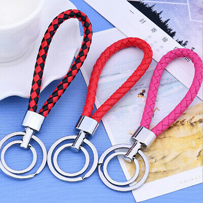Two circle multi-color leather rope strap weave key ring key chain keyFob