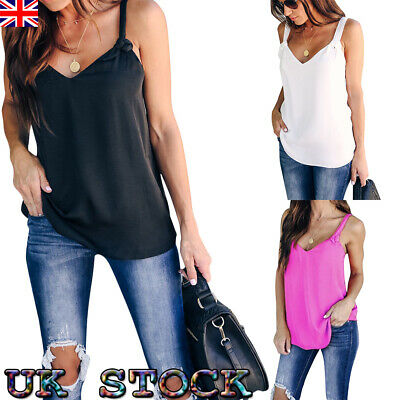 UK Women's Ladies Tank Top Cami Vest T Shirt Solid Color Strappy Camisole Size