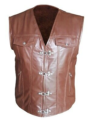 Mens Sexy Real BROWN Leather Chrome Hook Bikers Style Vest Waistcoat