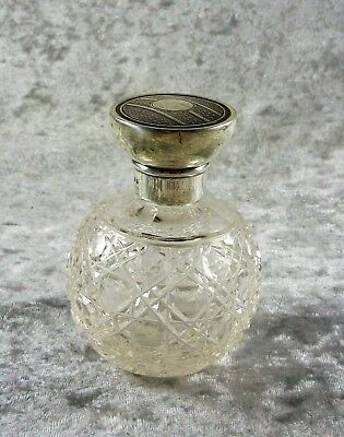 Antique  Estate  Hallmarked Sterling Silver Topped Hobnail Glass Perfume Bottle