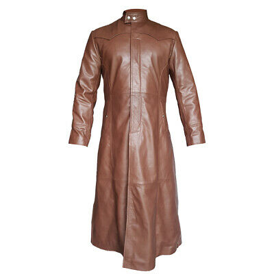 Mens Real Brown Leather Long Matrix Goth Trench Coat Gothic