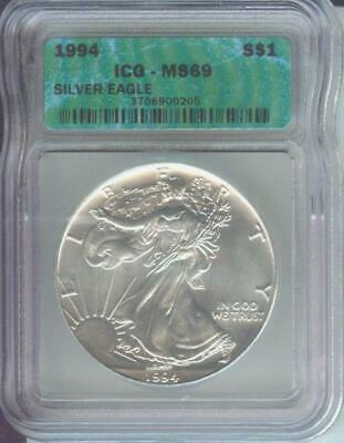 1994 (1994-P) American Silver Eagle ASE S$1 ICG MS69 MS-69 BEAUTIFUL !!