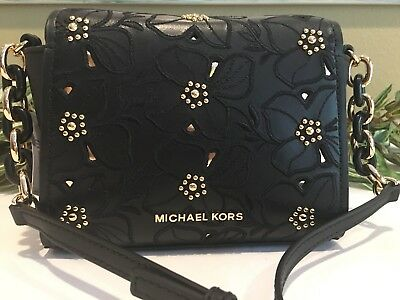 47a60234a83a Michael Kors Sofia Small Stud Flower Crossbody Leather Mini Bag $298 Black  Gold