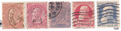 Belgium, Lot of 5 Old Used Hinged Stamps, Unchecked For Values, M11