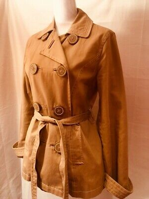 8238fb2e4e Boden Cotton Linen Double Breasted Trench Coat Jacket Brown Beige Size US 8  NWOT