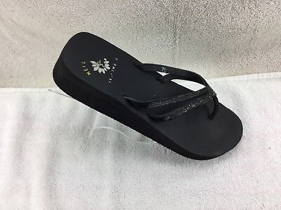 4a807540f YELLOW BOX BLACK Jewelled Straps Flip Flops Shoes Women s Size 7 1 2 ...