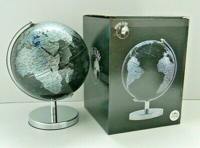 Decorative Black And Silver Rotating Globe World Map Atlas On Stand