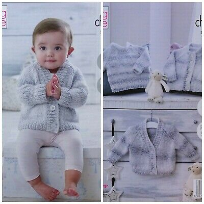 Baby KNITTING PATTERN Easy Knit Baby Cardigans & Jumper Chunky King Cole 5325