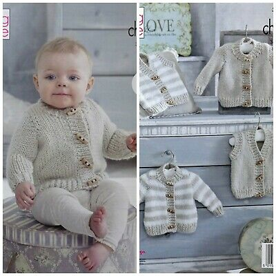Baby KNITTING PATTERN Easy Knit Baby Cardigans & Waistcoat Chunky King Cole 5236