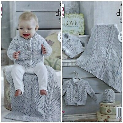 Baby KNITTING PATTERN Baby Cable Jackets Hat & Blanket Chunky King Cole 5237