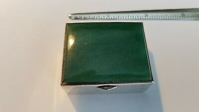 Sterling Silver Snuff / Pill Box With Jade (?) Green Stone Top 46.5 Grams
