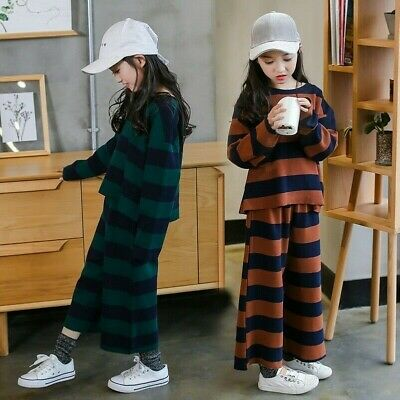 2Pcs Girls Striped Sportwear Two Tone Tops + Pants Wide Leg Trousers Kid Outfits
