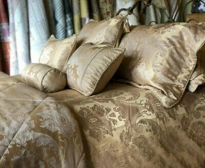 Luxury Gold Jacquard French Bed Linen Duvet Covers / Throw / Curtains / Cushions
