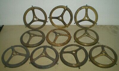 GROUP of 10 ANTIQUE BRASS GAS LIGHT SHADE HOLDERS LAMP PARTS FIXTURE PARTS