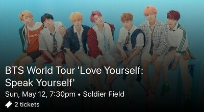 BTS Concert Tickets Chicago Soldier Field (Sunday May 12, SEC C1, Row 10)