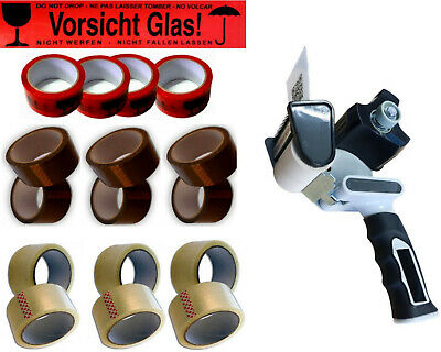 66m Pack Band Package Packing Tape Attention Glass Adhesive pro Hand Dispenser
