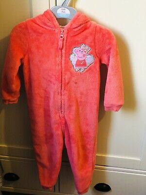 M&S Peppa Pig Baby Girls Pink Pyjamas All In One 18-24M 1-2year Old