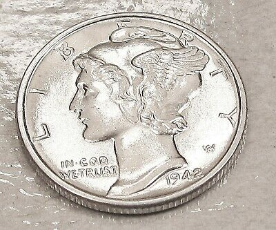1942  Mercury  Uncirculated  Dime  90%  Silver - Nice  Mint  Luster  #302  23