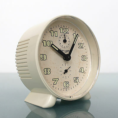 Vintage German Alarm CLOCK Mantel JERGER Special RARE HOLLOW FRONT! Space Age