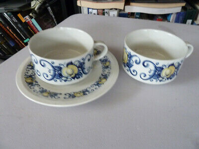 Villeroy & Boch China - Cadiz Pattern - Cups & Saucer - Two Cups, One Saucer