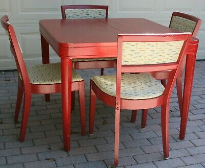 Original Oak Wood Art Deco Luncheonette Painted Table with 2 leaves & 4 chairs