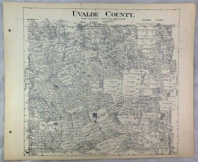 Antique General Land Office Map Uvalde County Texas Showing Plats ++