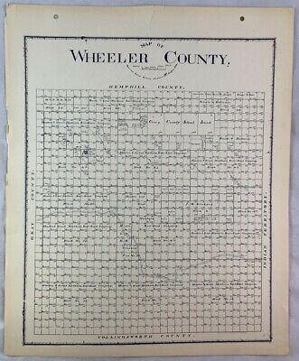 Antique General Land Office Map Wheeler County Texas Showing Plats ++