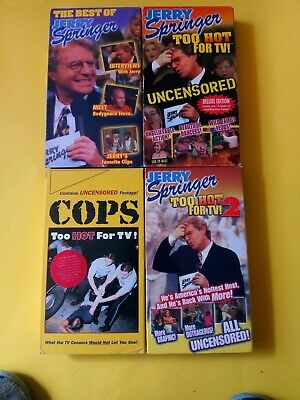 3 Jerry Springer VHS Videos + Bonus COPS VHS: Too Hot, 2,  Best Of (A)