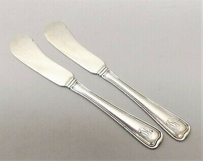 Antique Gorham Sterling Silver Old French Butter Pat Spreading Knife Pair Jam