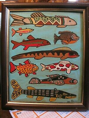 """C246   Original Acrylic Painting By Ljh    Authentic  """"Antique Fish Lures"""""""