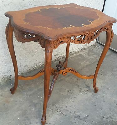 Vintage Walnut Carved French Inlaid Flower Side Lamp Table Carved Apron LA Area