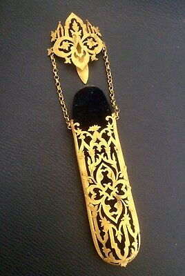 Antique Victorian Pierced Gold Tone Metal Chatelaine Spectacle Case,Blue Velvet