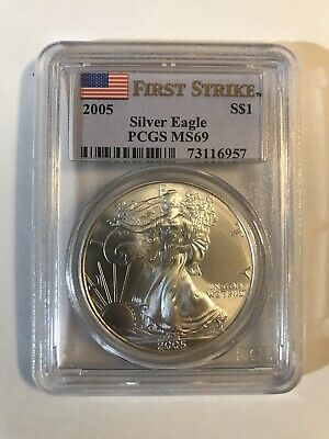 2005 American Silver Eagle First Strike PCGS MS69 1 Oz 999 Silver Spotless (957)