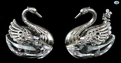 Antique 1930 Set of 2 Marked GERMANY Sterling Silver Crystal Swan Salt Shakers