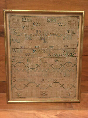 Georgian period antique embroidery sampler dated 1765 by Susana Lawrence aged 11