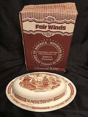 Alfred Meakin Fair Winds Brown Covered Butter Dish Staffordshire England IN BOX