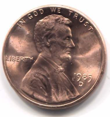 1985 D Uncirculated Lincoln Memorial Penny - One Cent Coin - Denver Mint