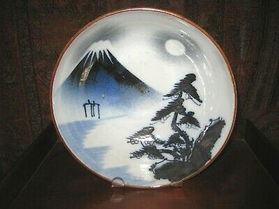 ANTIQUE JAPANESE BLUE & WHITE BOWL IMARI C 18th - 19th CENTURY MOUNT FUJI 8 1/2""