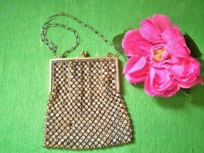 Vintage French Purse Brass Chain Mail Crystals Antique Evening Bag Small France