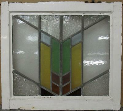 "OLD ENGLISH LEADED STAINED GLASS WINDOW Colorful Geometric Design 19.75"" x 18"""