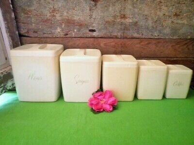 Vintage Canisters X5 Cream White Bakelite? Kitchen Storage Canisters Plastic