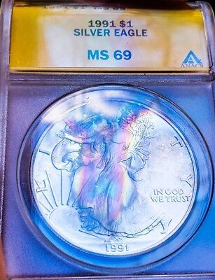 1991 MS69 ASE  American Eagle Silver  Dollar Coin * RAINBOW TONING  *