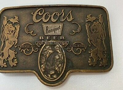 Coors Banquet Beer Belt Buckle Adolph Coors Company Golden Colorado Brass