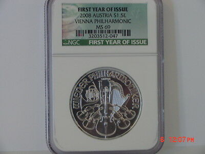 2008 Austria $1 1 Oz Silver Philharmonic First Year Of Issue Ngc Ms69