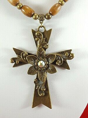 Flower Cross Pendant Necklace Religion Crucifix Wooden Bead Leather Cord Fashion