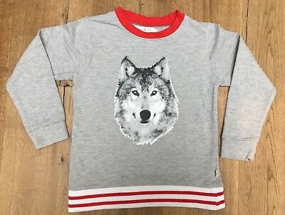 FRENCH SODA Boys Size 6 Sweatshirt Wolf Print Grey Marle with Red Trim