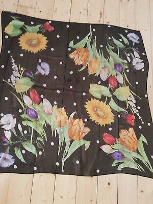 Beautiful sheer vintage square silk scarf black/red/yellow/blue tulips & spots